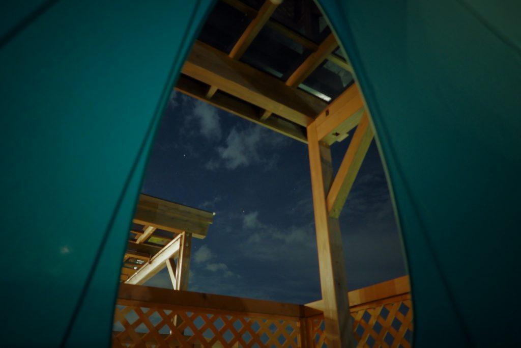 ハンギングテントから星空を