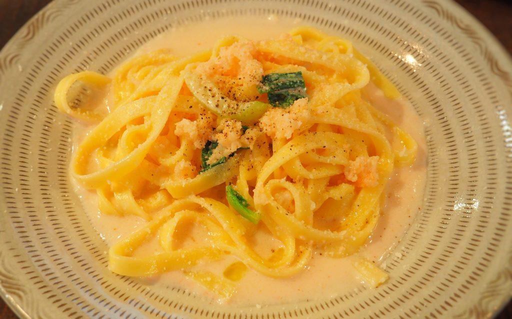 魚介ミンチとチンゲン菜の明太子クリームソース