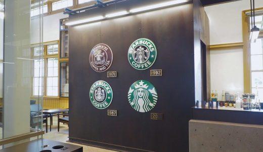 列車のヘッドマークを用いたスターバックス歴代のロゴマーク