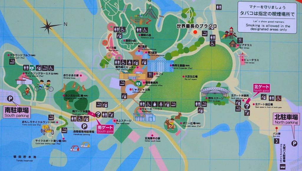 グリーンパークの園内マップ